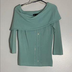 Bebe Aqua Blue Off The Shoulder Cashmere Sweater